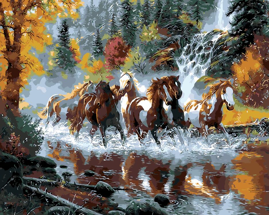 Fast forward horse steed for living room office decor painting oil - Home Decor