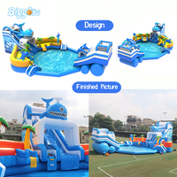 Commercial Inflatable Water Park Inflatable Slide And Pool Outdoor Amusement Park With Blowers