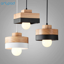 Artpad Modern LED Ceiling Pendant Lamps E27 Black White Solid Wood Pendant Lamp Indoor Home Restauant Coffee Bar Study Lighting t simple crystal fashion pendant light for dinging room home indoor lighting modern creative led chip lamps bar coffee shop