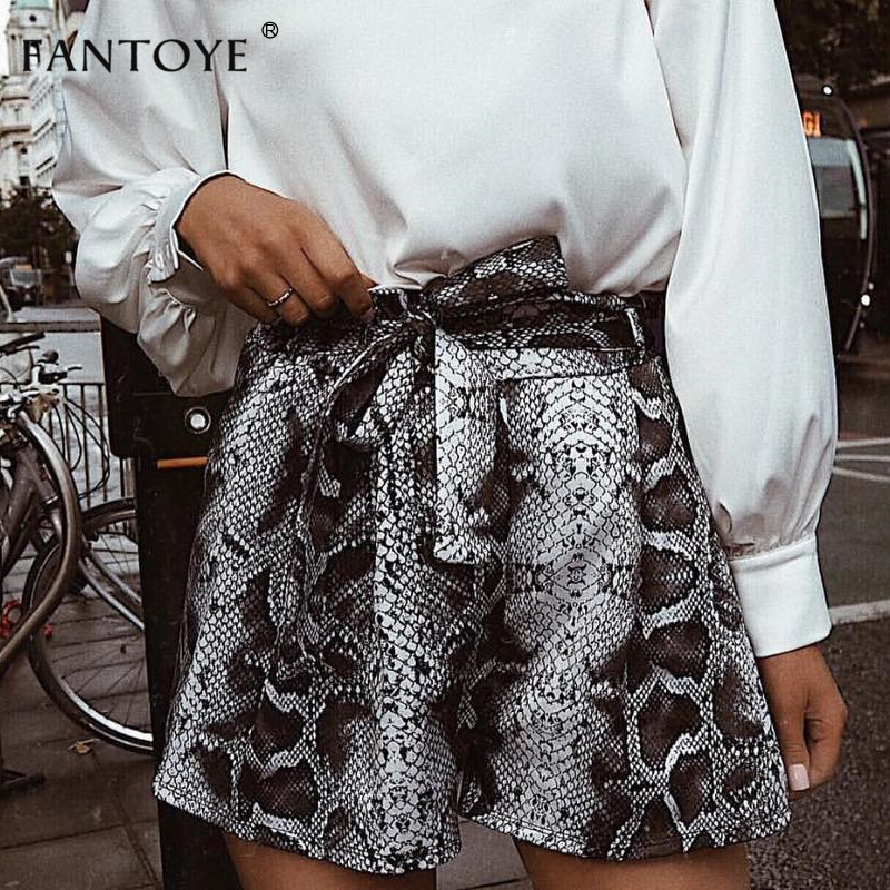 Snake Print High Waist Shorts Women Autumn Paper Bag Sexy Elegant Fashion Lace Up Ruffle Mini Ladies Shorts Skirts 3