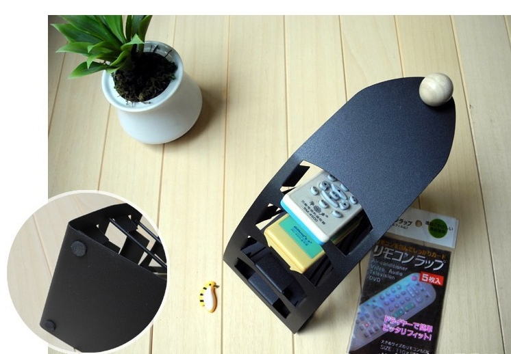 Remote Control Household Stand Holder Solid Metal Organiser Candy Storage Couch DVD Housekeeping Black Rack