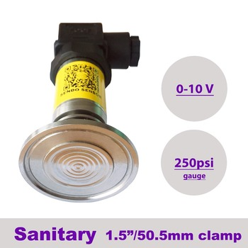 "0 to 250 psi gauge, anti block sanitary pressure transducer sensor, 0 to 10 v output, 24Vdc supply, 50.5 mm 1 1/2"" clamp fitting"