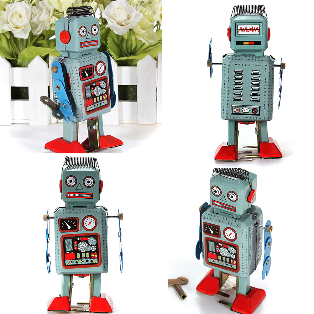 Mechanical Vintage Clockwork Wind Up Toys Walking Radar Robot Tin Toy Retro Vintage Gift Kids Children Toys With Key
