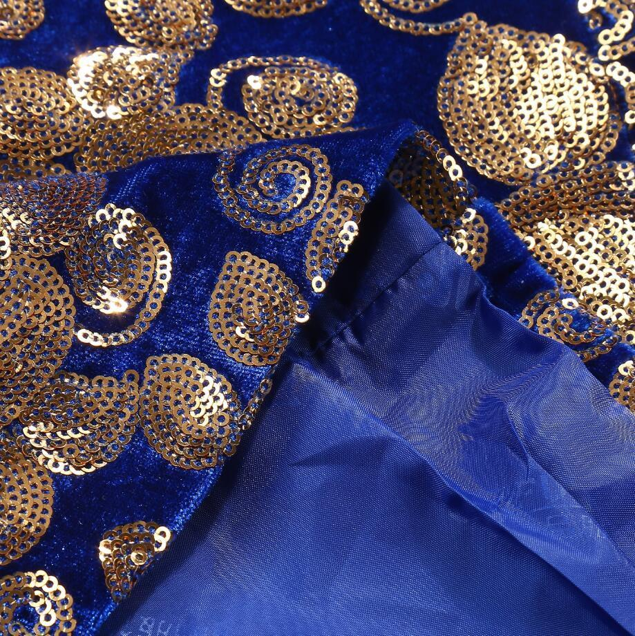 PYJTRL Men Stylish Shawl Lapel Royal Blue Velvet Slim Fit Blazer Plus Size 5XL Gold Floral Sequins DJ Singer Wedding Suit Jacket