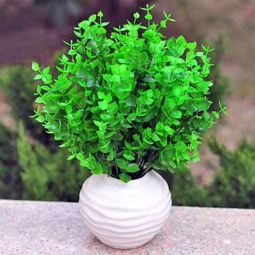 Nouvelle belle couleur 1 Pc 7 Branches vert artificiel faux plastique feuilles d'eucalyptus plante décor à la maison fleurs artificielles et séchées