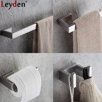 Leyden 304 Stainless Steel 4pcs Bathroom Accessories Set Single Towel Bar Robe Hook Toilet Paper Holder Bath Hardware Sets