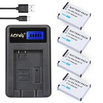 4Pc EN-EL12 EN EL12 ENEL12 Battery + LCD USB Charger for Nikon Coolpix S6000 S6100 S6150 S6200 S6300 AW100s AW110s AW120s Camera фото