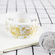 цена 2 pcs Luxury silver gold washi tape set  35mm Rose flower paper washi tape Silver Gold sticker scrapbook album Stationery FJ311 онлайн в 2017 году
