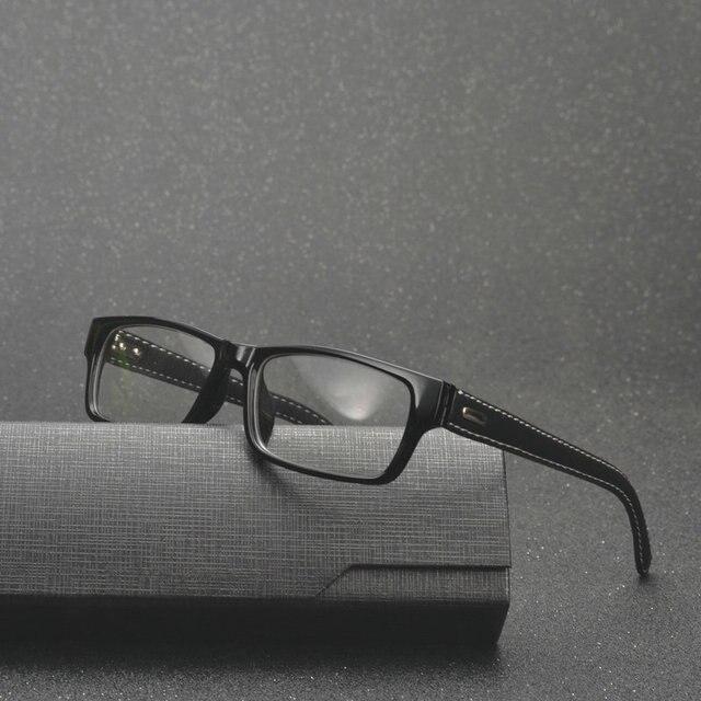 85d6f33c00 Mincl  square frame glasses vintage black leather eyeglasses frame Fashion  Business Men s Myopia frames FML