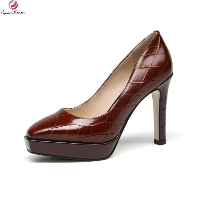 Original Intention New Quality Women Pumps Leather Square Toe Thin High Heels Pumps Black Brown Ladies Shoes Woman US Size 4-8.5 original intention new fashion women pumps square toe square heels pumps cow leather stylish black shoes woman us size 3 5 10