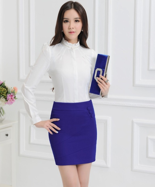 New 2015 Spring Autumn Slim Fashion Female Work Suits With Skirt And Blouses Ladies Office Shirts Tops Clothing Sets Uniforms
