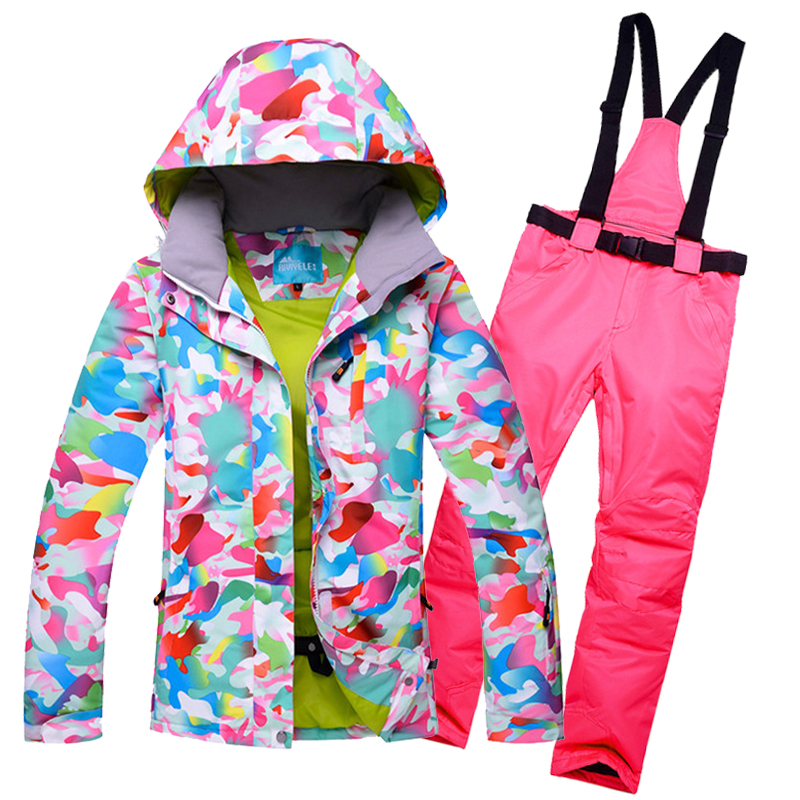 Colorfull snowboard suit womens Thermal waterproof female snow ski suit -30 DEGREES Women skiing jacket and pant set windbreaker sutton studio womens 2 pcs quilted pant suit