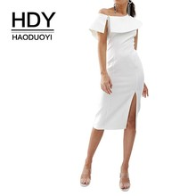 HDY Haoduoyi Femme Summer Sexy Open Shoulder White Asymmetric Dress Party Club Beach Sundresses Vestido Women