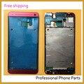 100% Оригинал Новый Металлическая Передняя Панель Рамка Крышки Корпуса Чехол Для HTC One M7 801e Жилья, красный Черный Щепка Синий Цвет