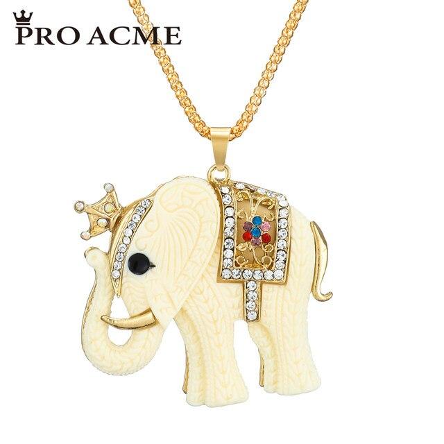 e81ac174673c3 Online Shop Pro Acme Resin Lucky Elephant Pendant Necklace Women ...