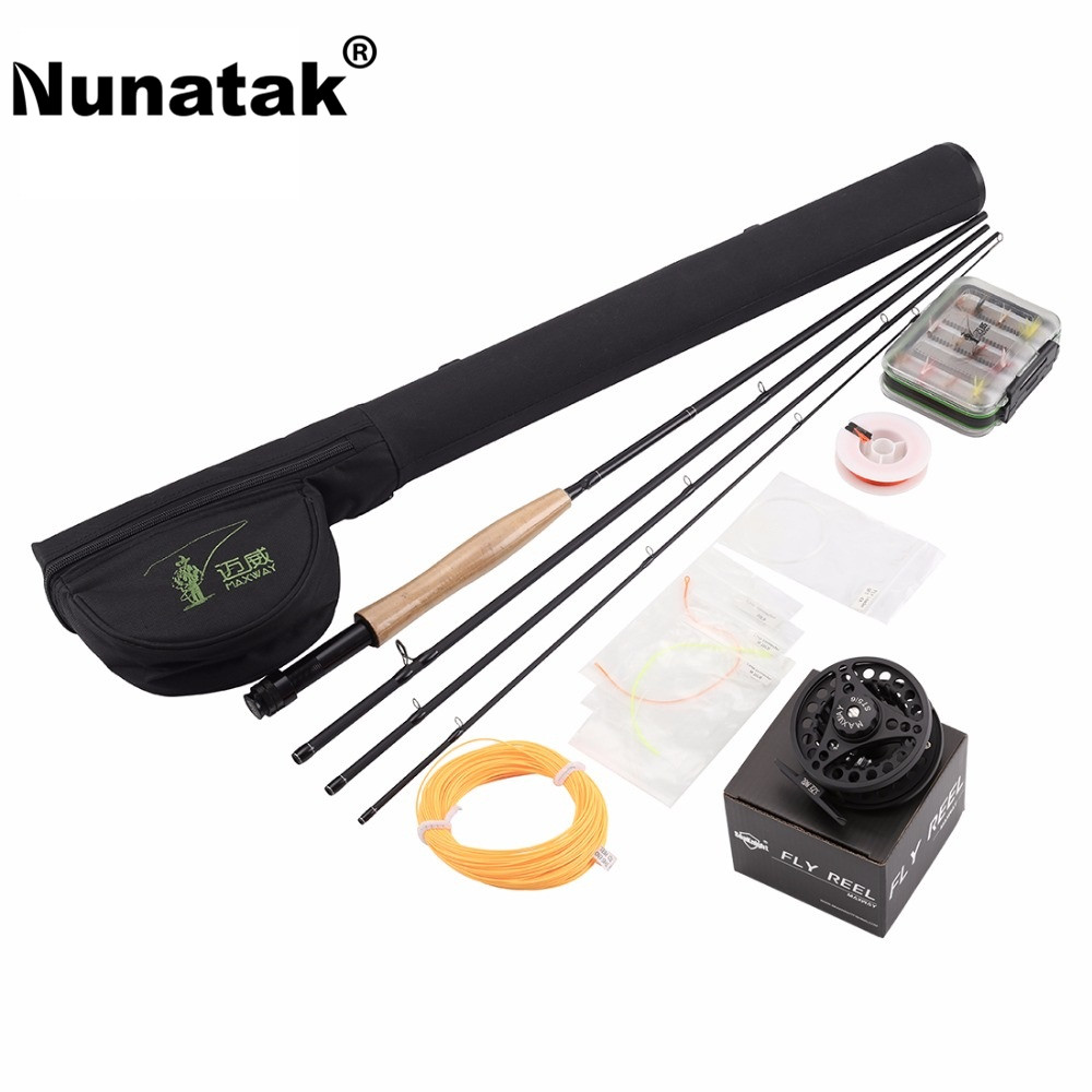 Nunatak  Maxway Fly Rod Combo Kits 5/6# Include High Carbon Rods +Aluminium  Reel +Box Fly Lure+  Line +WaterProof Rod Bag free shipping 5 6 4 segments sections fly fishing rod full metal reel water proof rod bag lines box lure set kit