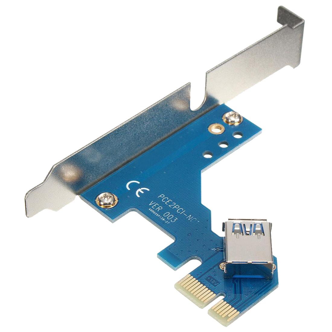 PCI-E Express X1 to Dual PCI Riser Extend Adapter Card with 2.6FT USB 3.0 Cable