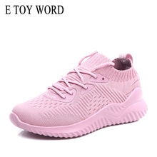 E TOY WORD women sneakers shoes Ladies breathable Casual Lace-up socks lightweight damping pink running sports
