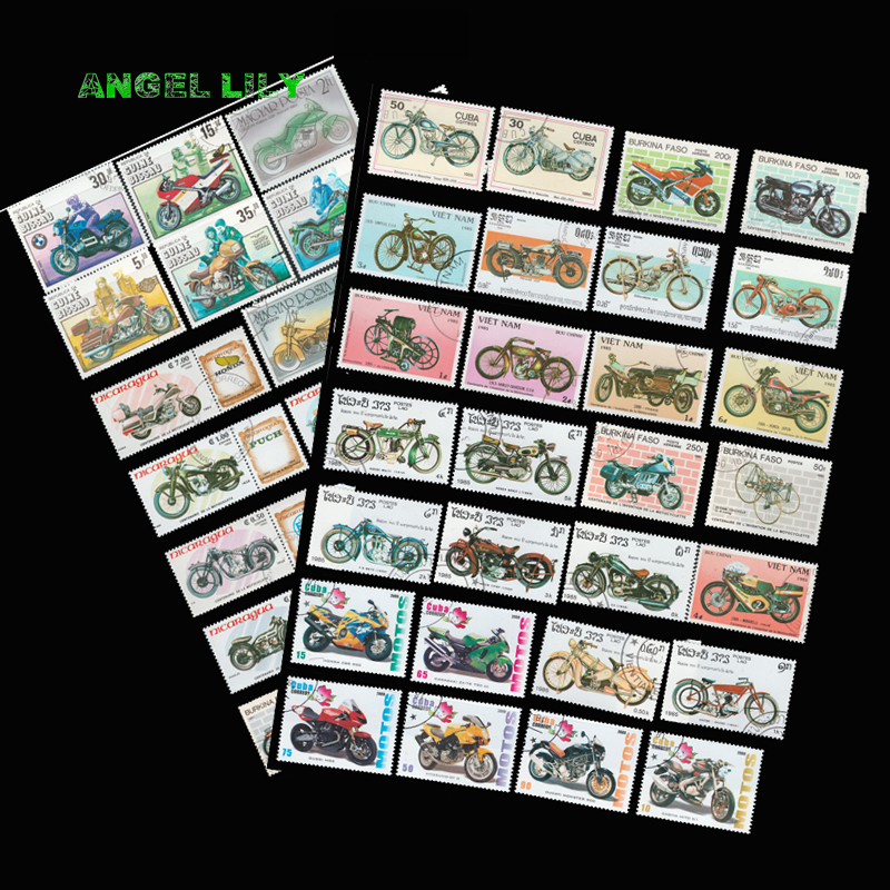 50 PCS/lot Topic Motorcycle Unused Postage Stamps With Post Mark In Good Condition For Collectiong 100 pcs lot postage stamps good condition used with post mark from all the world stamp collecting estampillas de correo