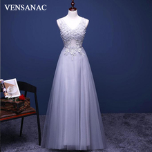 VENSANAC 2018 V Neck Flowers Crystals Long Evening Dresses Elegant A Line Tulle Party Lace Appliques Prom Gowns