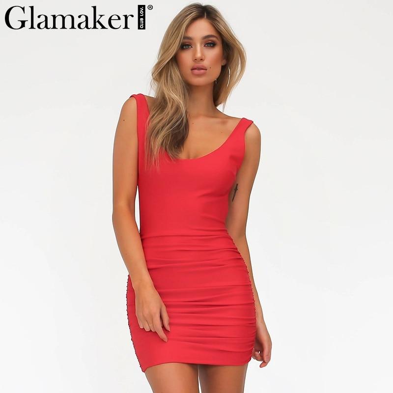 Glamaker Elegante backless del vestido del verano de las mujeres corto Delgado v