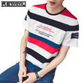 2017 New Arrival Famous Brand Men striped t-shirt High Quality Slim Fit Cotton O-neck Tshirts Oversized Mend clothing Hot Sale