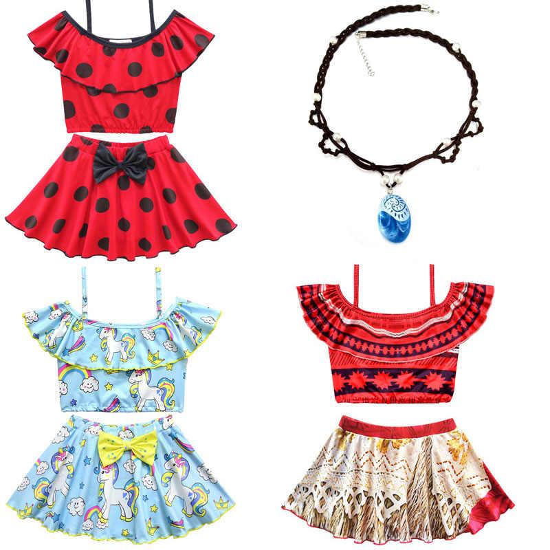 bdc6f26688 Miraculous Ladybug New Baby Girls Moana Vaiana Dress bikini Bathing Suits  kids beach swim wear swimsuit