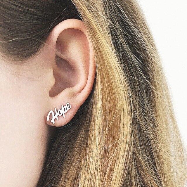 Tardoo Letter Earrings Silver 925 Sterling Stud For Women Minimalist Hope Typeface