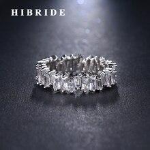 HIBRIDE, хит, прозрачный кубический циркон, для женщин, мужчин, кольца, белое золото, цвет, палец, кольцо, свадебные подарки, Спиннер, кольцо, R-160