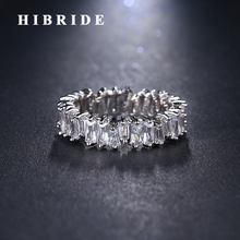 HIBRIDE Hot Clear Cubic Zircon women Man Rings White Gold Color Finger Ring Bridal Gifts Spinner ring R-160 hibride luxury design clear cubic zircon women wedding ring rose gold color adjustable open finger ring anillos r 189