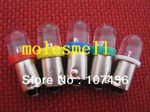 Free Shipping 5pcs T10 T11 BA9S T4W 1895 12V R Y B G W Led Bulb Light For Lionel Flyer Marx