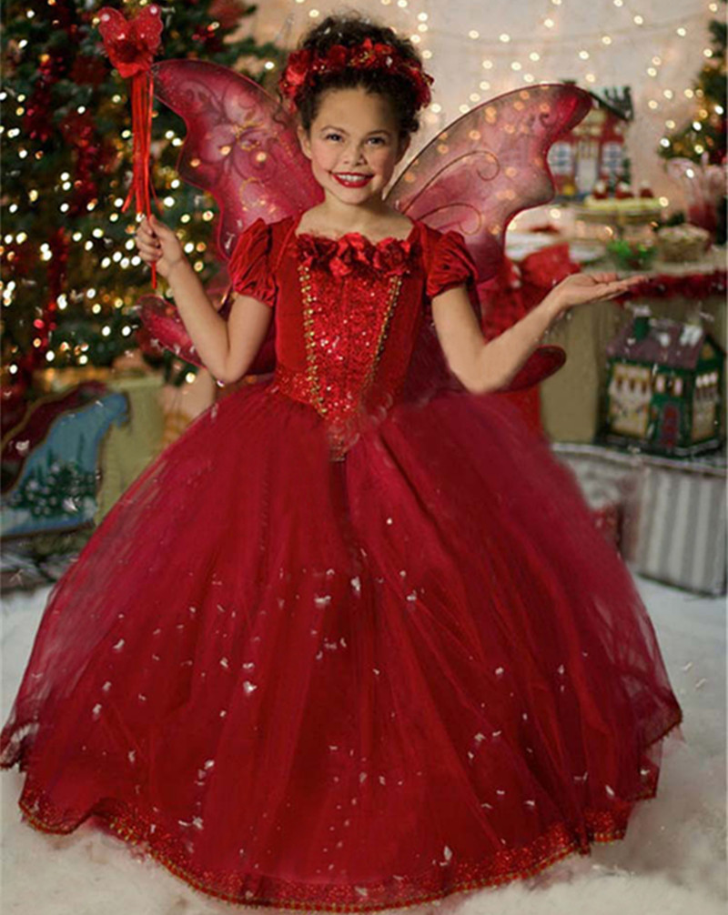Red Baby Girl Tulle Dress Children Kids Halloween Cosplay Costume Red Hooded Toddler Girls Dresses For Child For Christmas Party