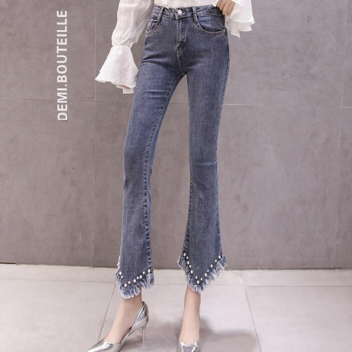 High Waist Women Jeans Flare Pants Tessal Bead Slim Fashion Pants High Waist High Elastic Ankle-Length Denim Trousers 18