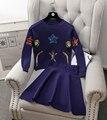 2016 Mulheres Casual Blusas + Saias 2 PCS Define Outono Inverno Organismo Marinho Lantejoulas Lady Mulher Pulôver Camisola Tops Saia ternos