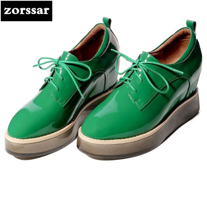 {Zorssar} 2018 New Patent leather womens Creepers shoes Round toe Wedges High heels pumps Fashion casual Ladies platform shoes genuine cow leather spring shoes wedges soft outsole womens casual platform shoes high heel round toe handmade shoes for women