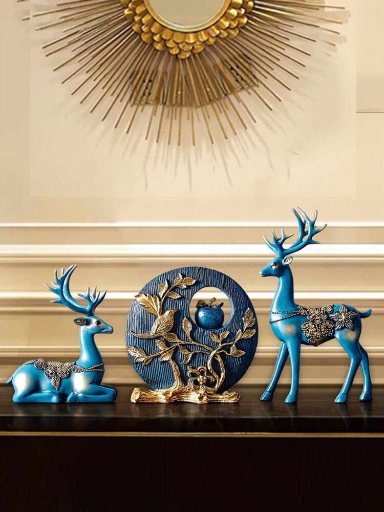 Европейские, полимерные счастливые олени украшение ручной работы дома гостиной статуэтки крыльцо украшение для телевизора искусство свадебные подарки