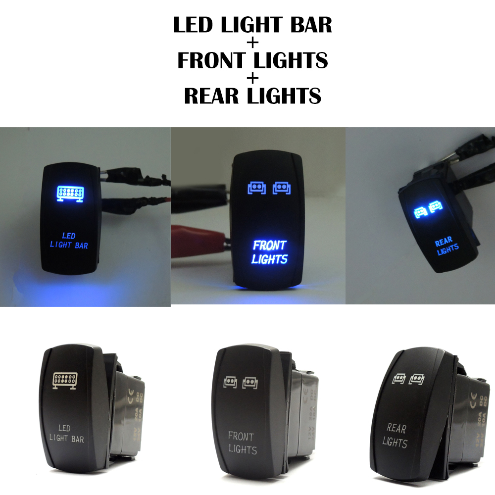 UTV <font><b>ATV</b></font> Blue Rocker <font><b>Switch</b></font> LED <font><b>Light</b></font> Bar and Front Rear <font><b>Light</b></font> for Polaris RZR 1000 Ranger for Yamaha For Polaris Ranger image
