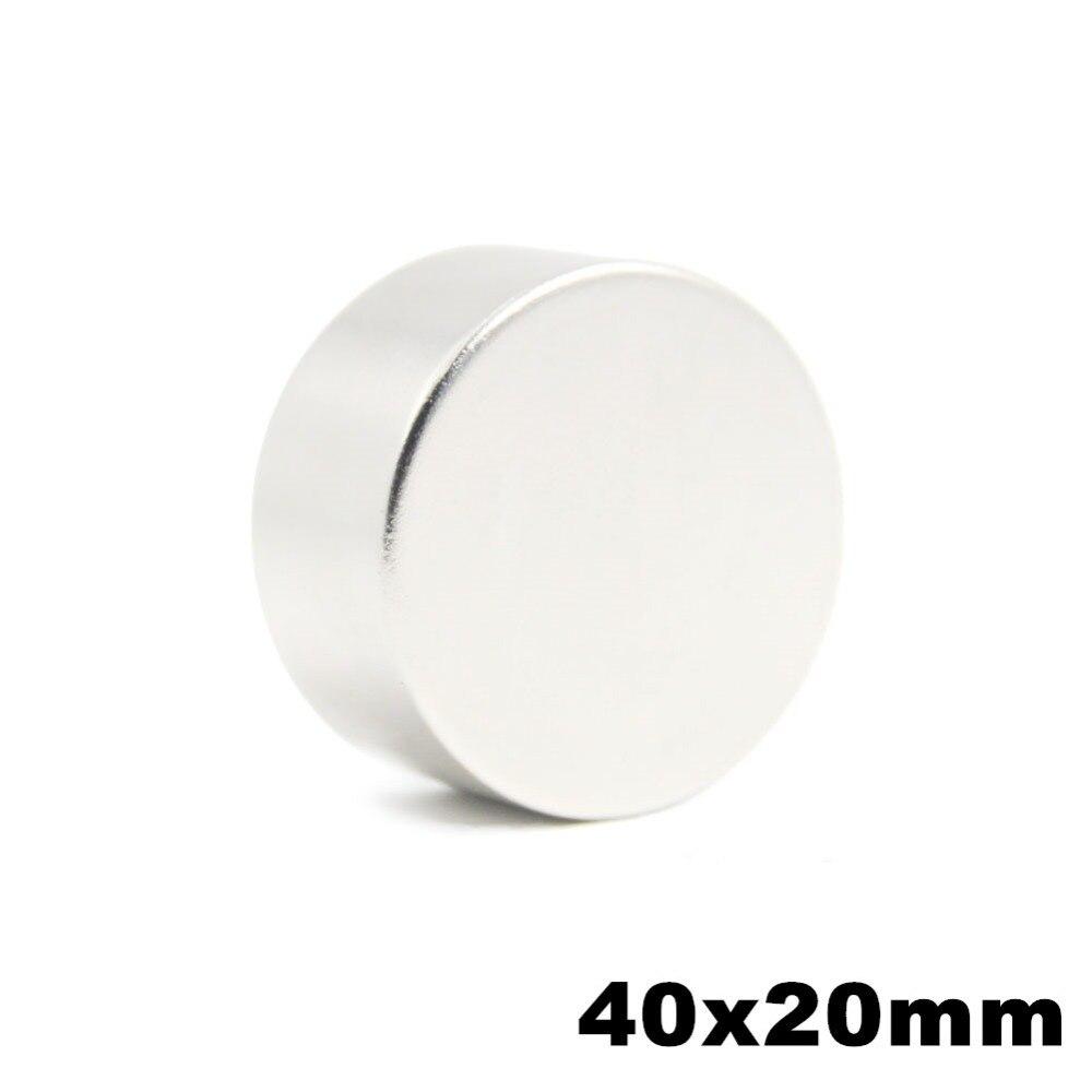 1 piezas 40x20mm Super redondo NdFeB imanes de disco de neodimio Dia 40mm x 20mm N50 imán de la tierra rara NdFeB