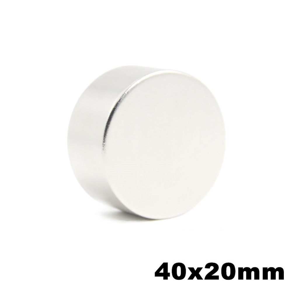 1 unids 40x20mm súper poderoso fuerte a granel pequeña ronda de NdFeB imán de neodimio imanes de disco Dia 40mm x 20mm N50 raros de la tierra imán de NdFeB