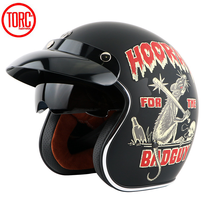 Torc T57 DIRTY RAT 3/4 Open Face Harley Vintage Motorcycle Helmets retro scooter helmets suit anti glare sun visor ECE R 22.05