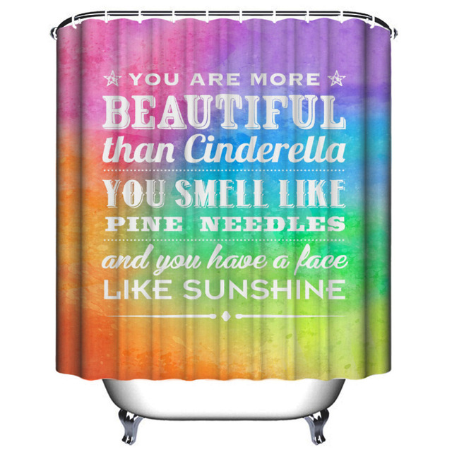 WLIARLEO Polyester Shower Curtain Waterproof Colourful English ...
