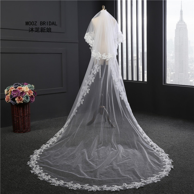 3m Wedding Veils Two Layers Cut Edge See Through Tulle New Style Real Images White Ivory Applique Lace Bridal Veil with Comb