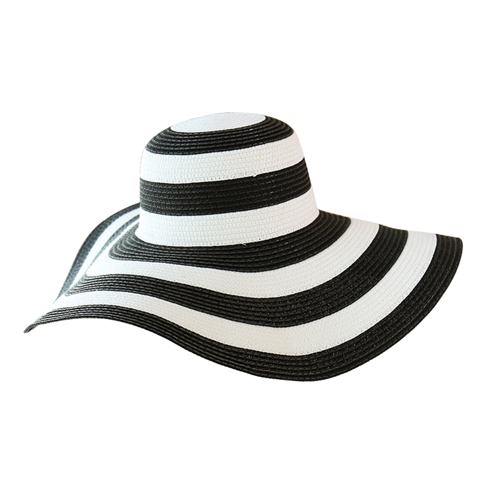 61be13233 US $6.73 31% OFF|Stripe Summer Straw Hat Women Big Wide Brim Beach Hat  Handmade Sun Hat Foldable Sun Block UV Protection Panama Beach Foldable-in  ...