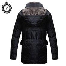 COUTUDI Men's Brand Clothing Plus measurement Warm Thick Men Winter Parkas Coat Long Hooded Waterproof Solid Black Man Down Jacket Coat