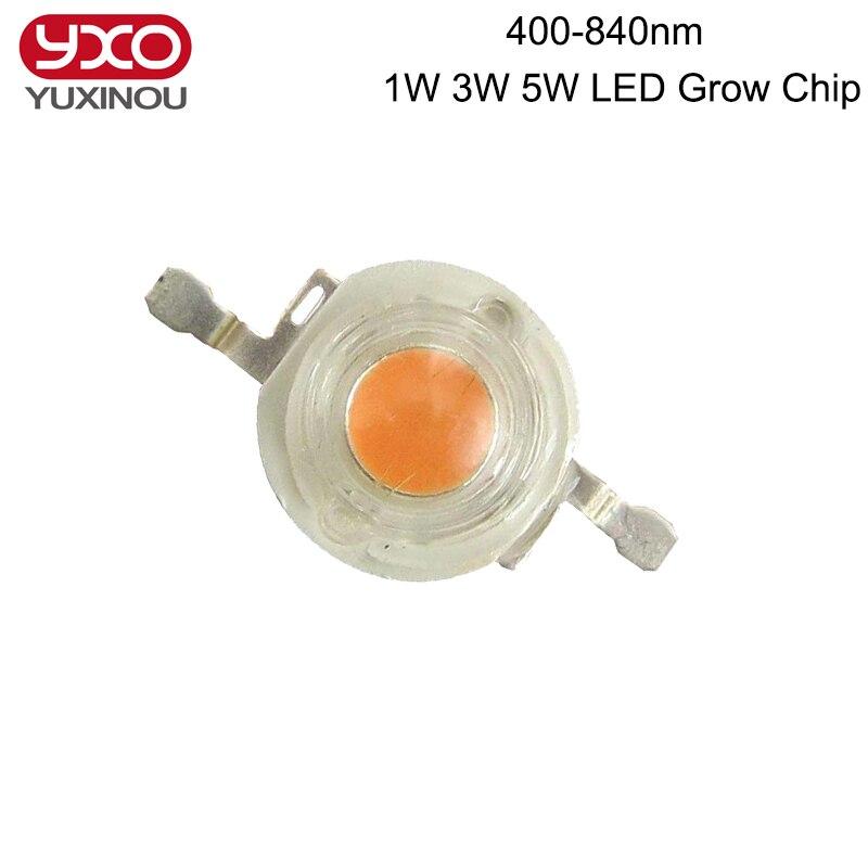 50 stücke 1 Watt 3 Watt 5 Watt Vollspektrum LEDs Chip Diode 400-840nm Wellenlänge rosa 30mil 45mil für indoor-led Wachsen und Hydroponischen Led-lampe