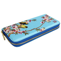 Genuine leather animal and landscape print women long purse