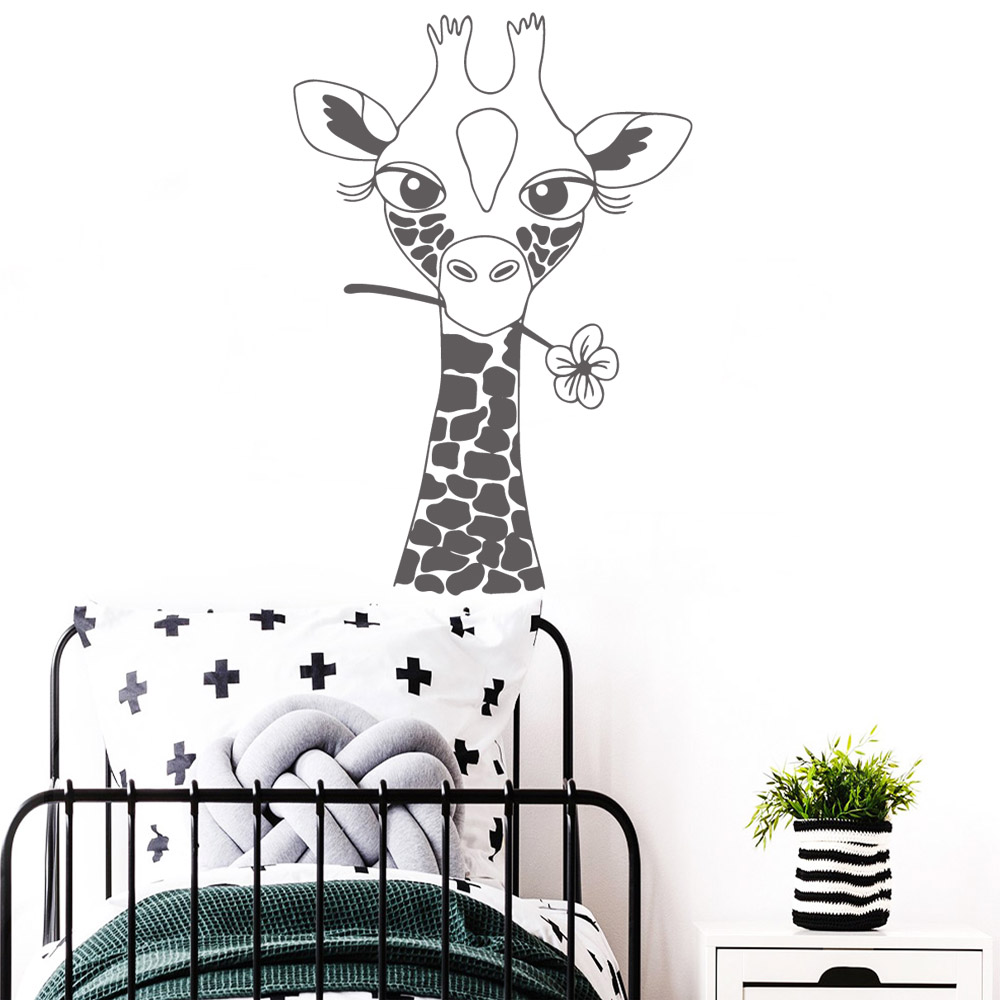Cute Giraffe Wall Stickers Decor For Baby Room Vinyl Bedroom Decoration Decal School Wall Murals wallstickers vinilo pared