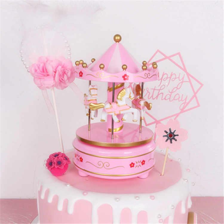 Pleasing Musical Carousel Cake Toppers Newborn Baby Boy First Birthday Girl Personalised Birthday Cards Beptaeletsinfo