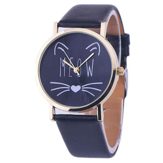Hot Sale Women Watches Cat Pattern Leather Band Analog Quartz Wrist Watch Ladies