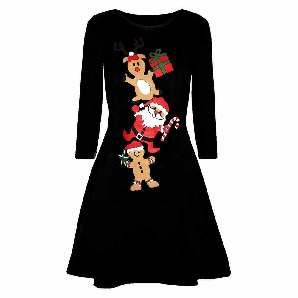 dc3aeeb52ed Женское рождественское платье 2018 цветочное тонкое винтажное платье с  длинным рукавом Повседневная элегантная вечерние Вечеринка фестиваль